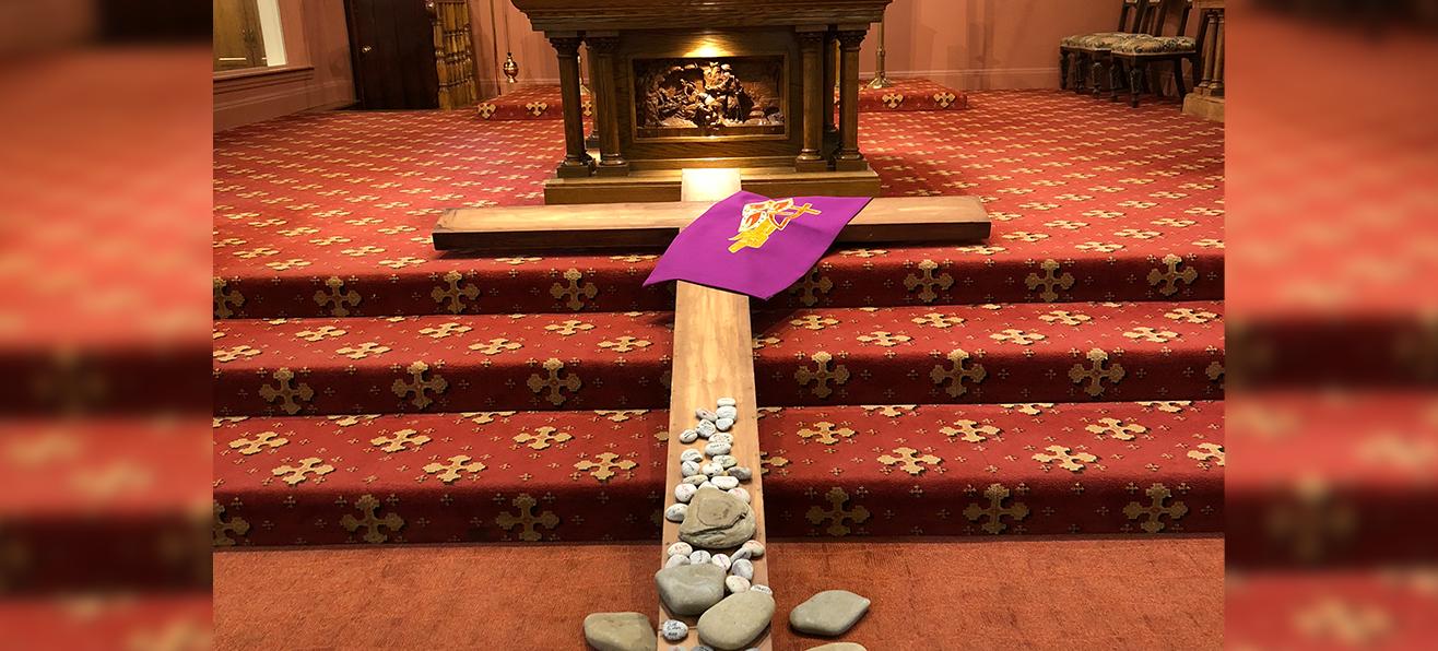 Cross from Lenten Retreat on Altar